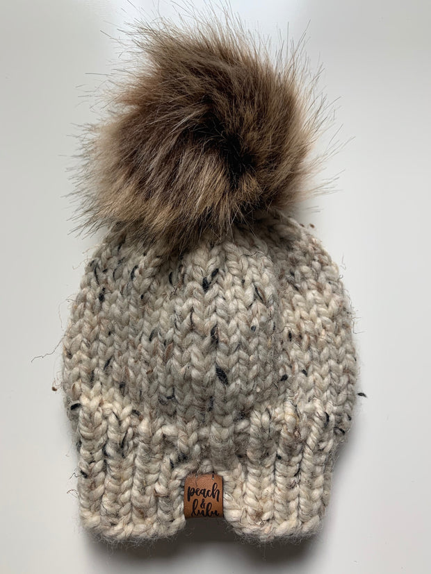 READY TO SHIP Solid Oatmeal Toque with Light Brown Pom