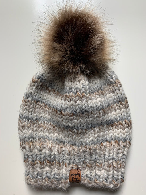 READY TO SHIP Solid Fossil Toque with Light Brown Pom