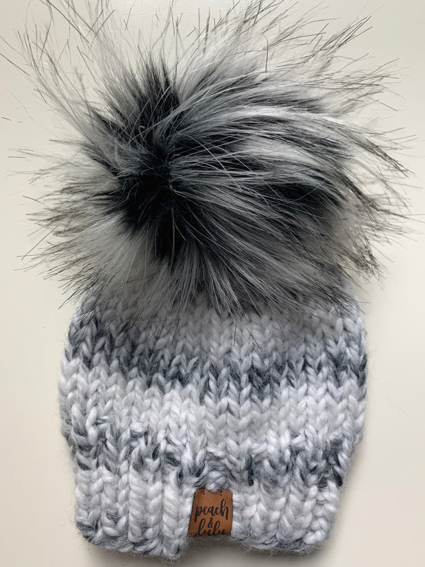 READY TO SHIP Solid Marble White Toque with Monochrome Pom