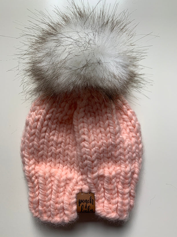 READY TO SHIP Solid Antique Pink Toque with White Pom