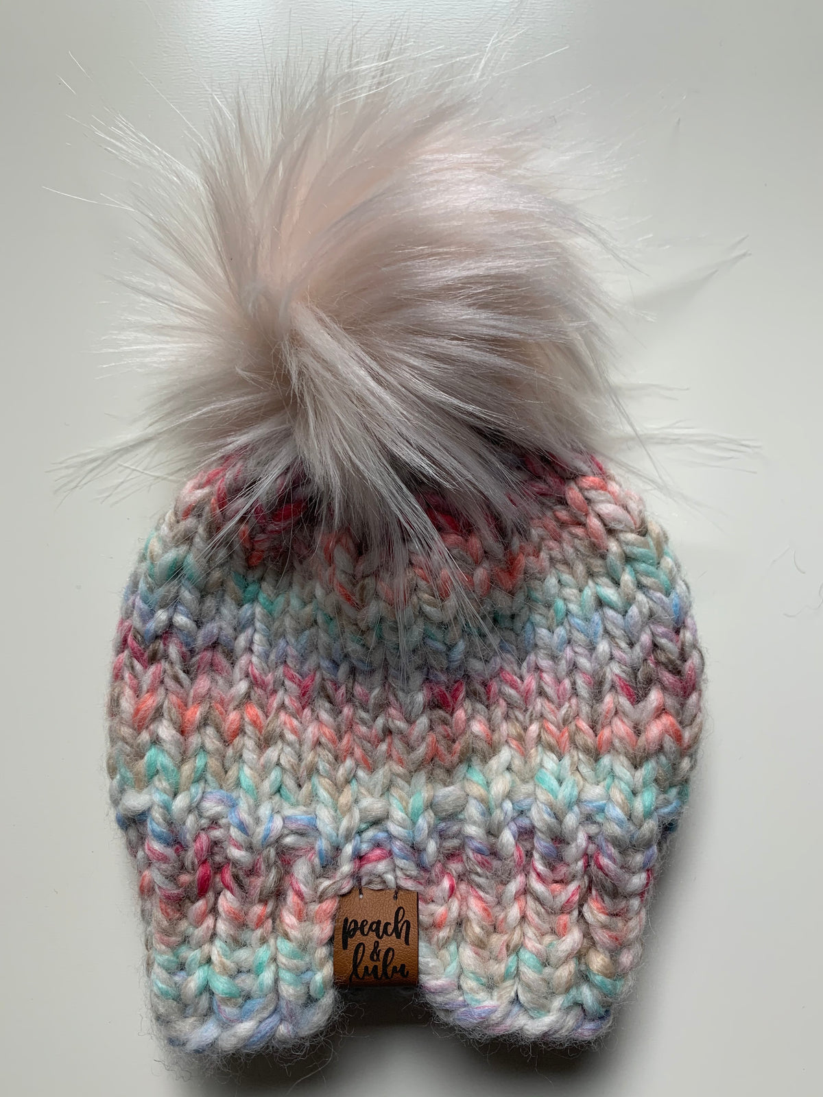 READY TO SHIP Solid Carousel Toque with Blush Pom