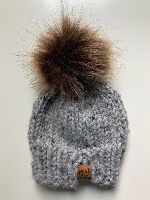 READY TO SHIP Solid Marble Gray Toque with Light Brown Pom