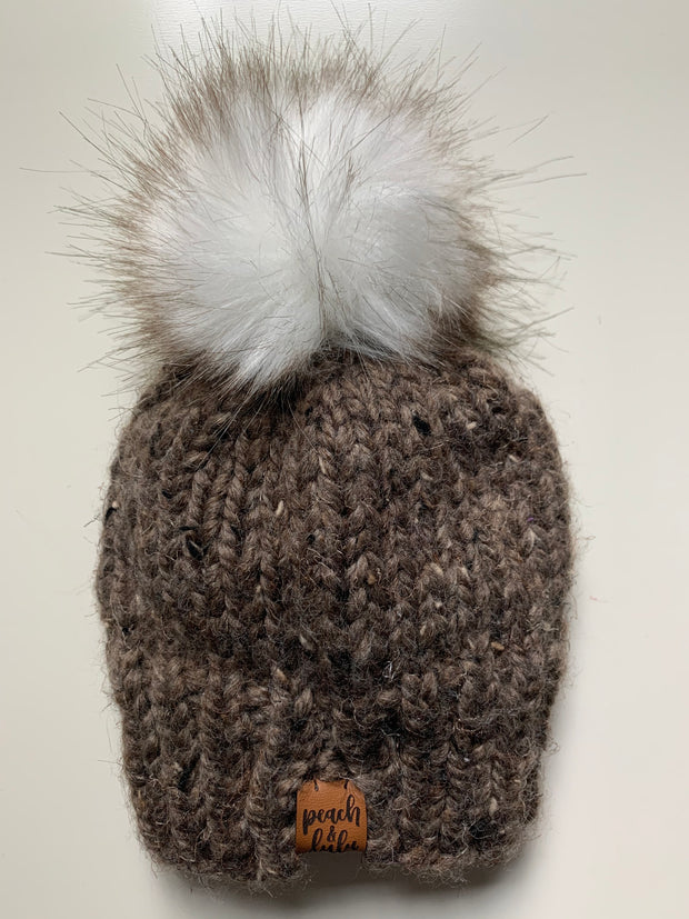 READY TO SHIP Solid Brown Toque with White Pom