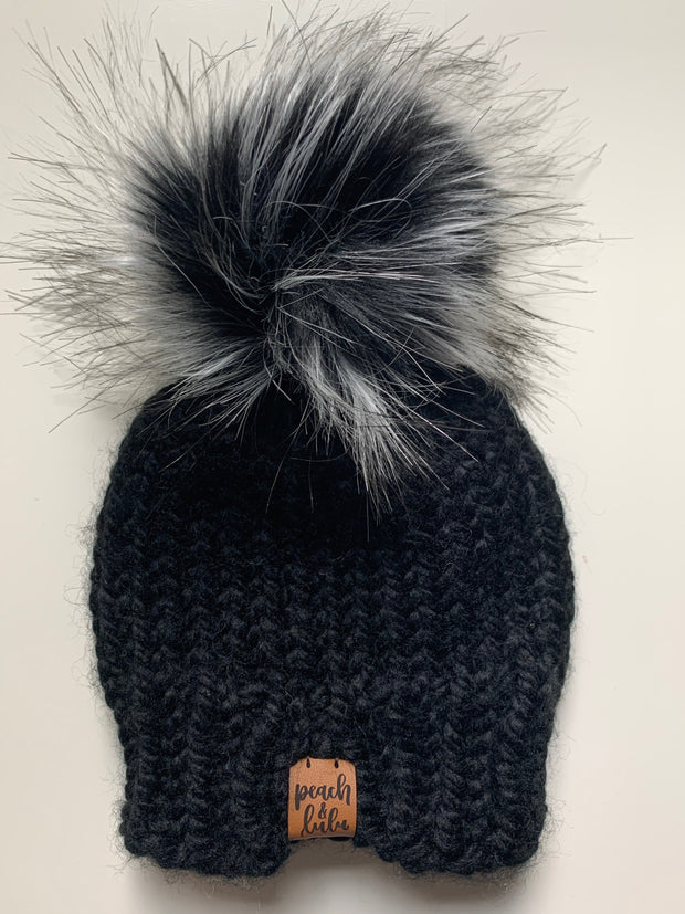 READY TO SHIP Solid Black Toque with Monochrome Pom