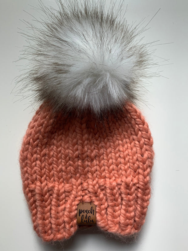 READY TO SHIP Solid Coral Toque with White Pom