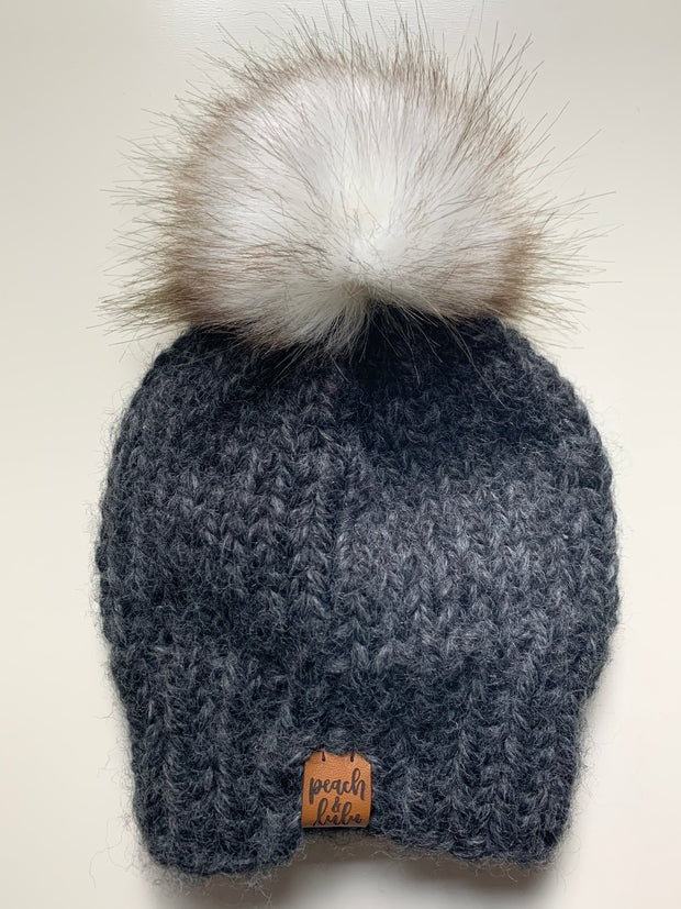 READY TO SHIP Solid Charcoal Toque with White Pom