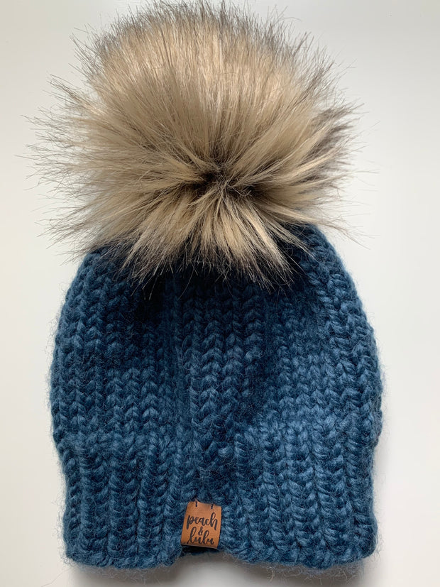 READY TO SHIP Solid Denim Toque with Blonde Pom