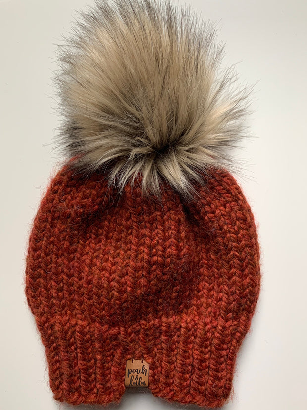 READY TO SHIP Solid Rust Toque with Blonde Pom