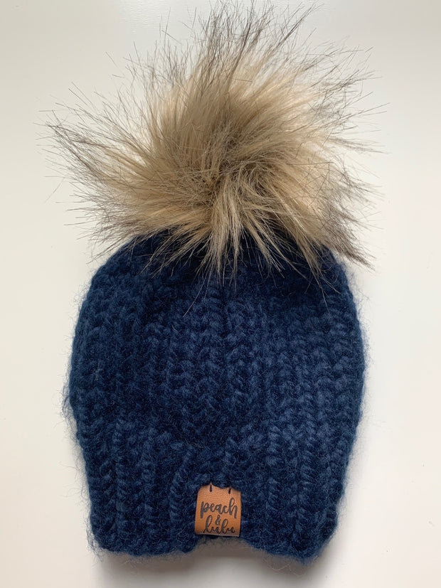 READY TO SHIP Solid Navy Toque with Blonde Pom