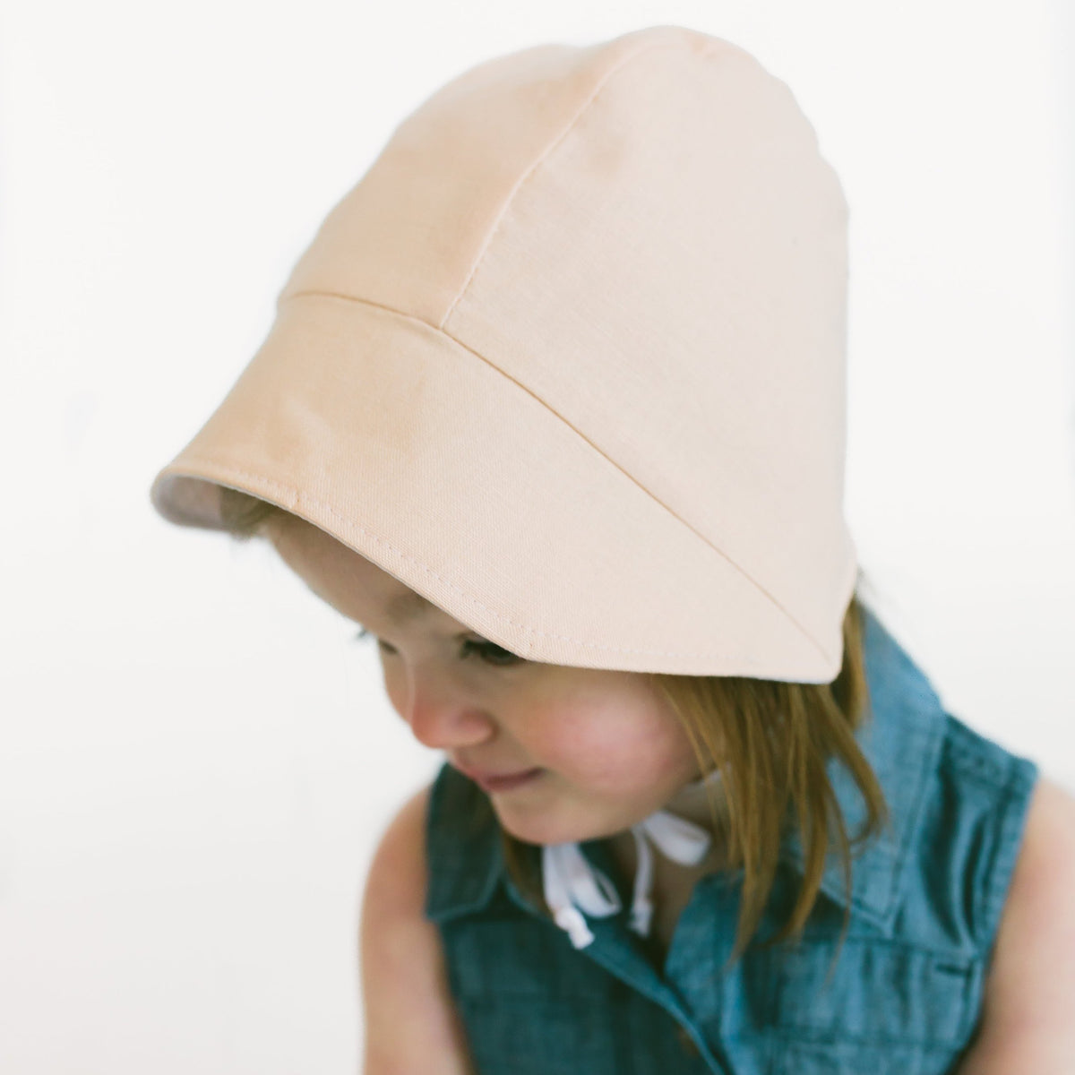 READY TO SHIP Double Sided Peach and Striped Bonnet with Sun Brim