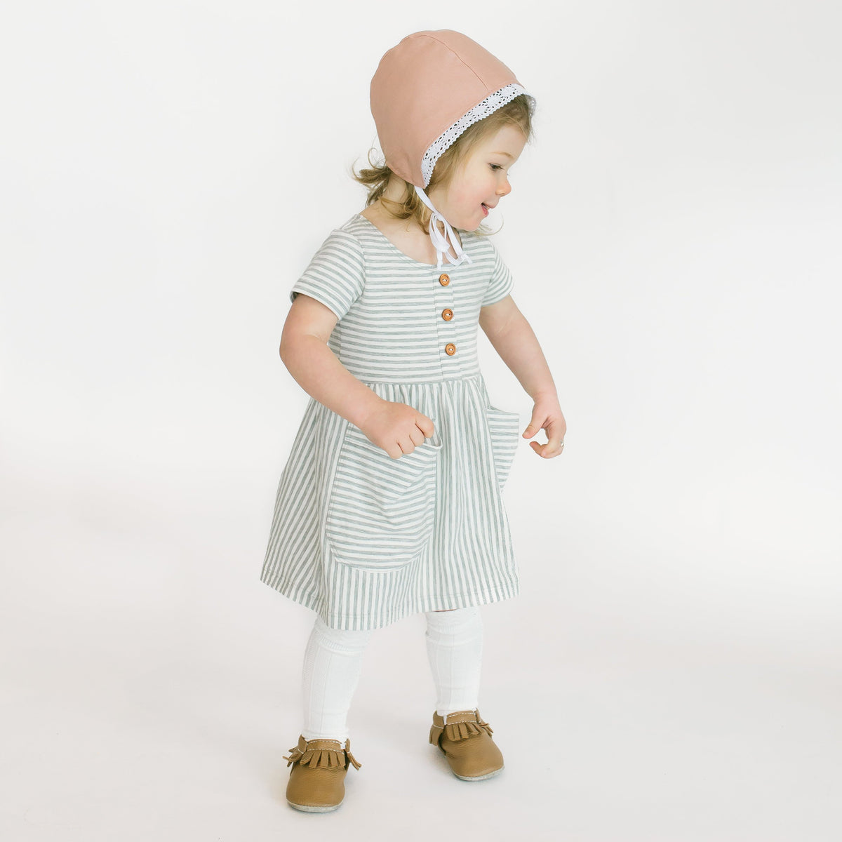 Custom Double Sided Dusty Rose and Gingham Bonnet