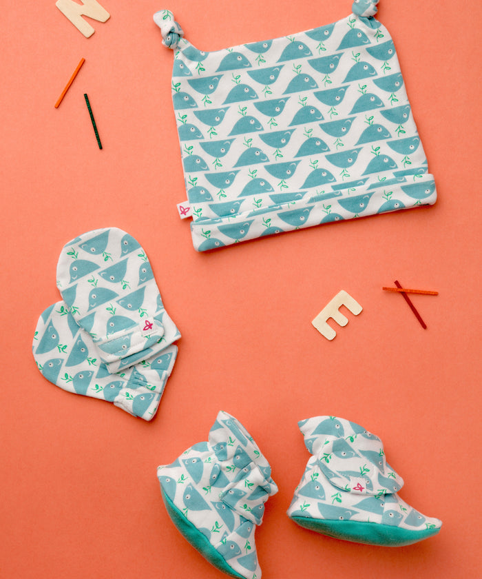 Mighty Whale - Booties, Mittens & Cap Set