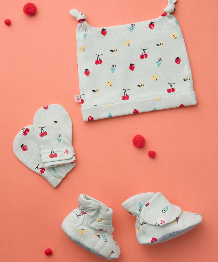 Fruit Punch - Booties, Mittens & Cap Set