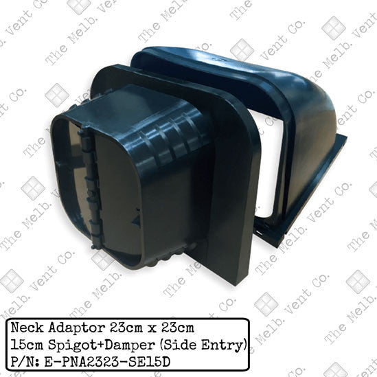 MDO duct adaptor - 23cm x 23cm - side entry - The Melbourne Vent Company