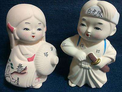 Hakata Kokeshi - 2 x Japanese dolls from Aizu Japan - Byakkotai Samurai Warrior & Kimono Girl sajapansales