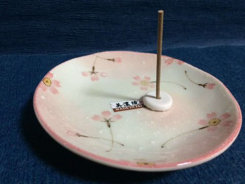 Incense Plate + Muji Incense Holder / Stand Set - Japanese Sakura Cherry Blossom sajapansales