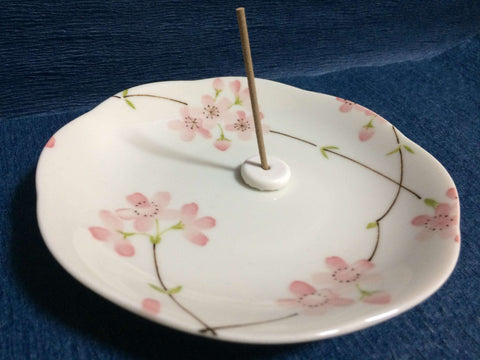 Incense Plate + Muji Incense Holder / Stand - Japanese Sakura Cherry Blossom sajapansales