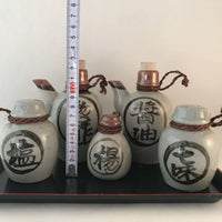 Japanese Bottles Set (5) + Tray - Soy Sauce, Salt Shaker, Toothpicks etc sajapansales