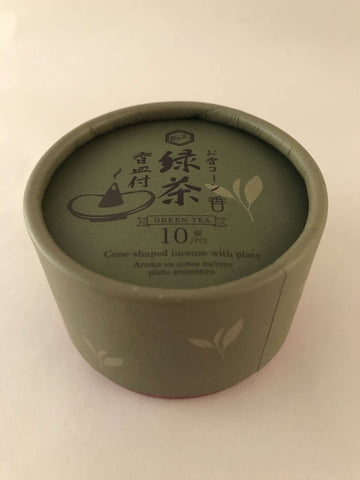 Japanese Green Tea Scented CONE Incense + Plate sajapansales