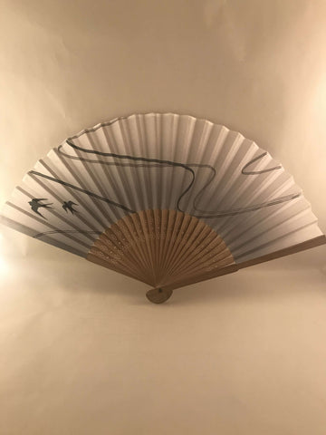 Wooden & Cotton Japanese Hand Fan - Swallows design