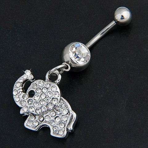 Stone Elephant Shaped Navel Button Ring
