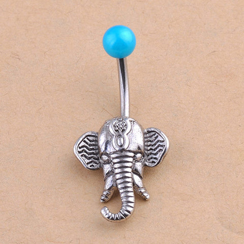 Stainless Steel Elephant Belly Button Ring
