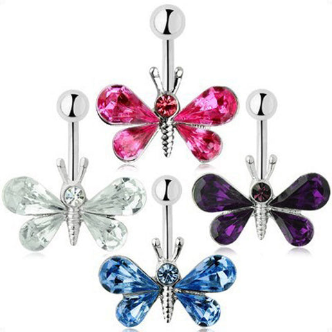 Colorful Butterfly Belly Button Ring