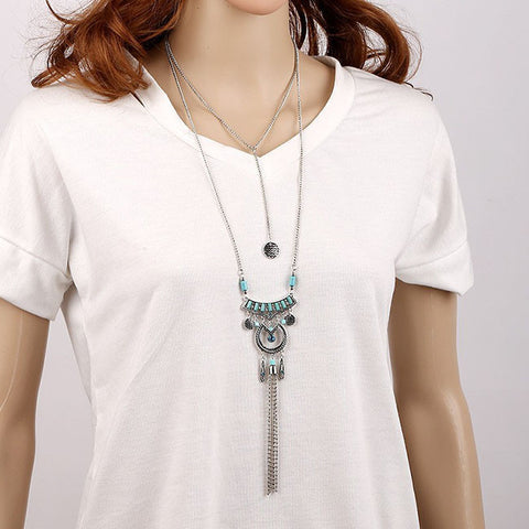 Antique Silver Bohemian Long Tassel Necklace