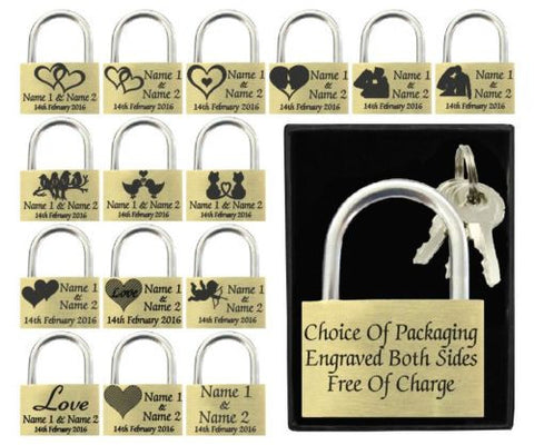 Valentines Gift Love Lock Or Love Padlock With Personalized Engraved Name / Message