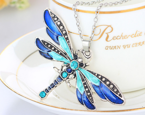 Dragonfly Charm Necklace with Rhinestone