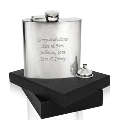 Stainless Steel 6oz Hip Flask & Funnel – Personalized Engraved Message – With Gift Box