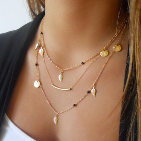3 layer long Choker Necklace
