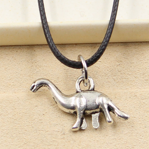 Black Leather dinosaur Necklace