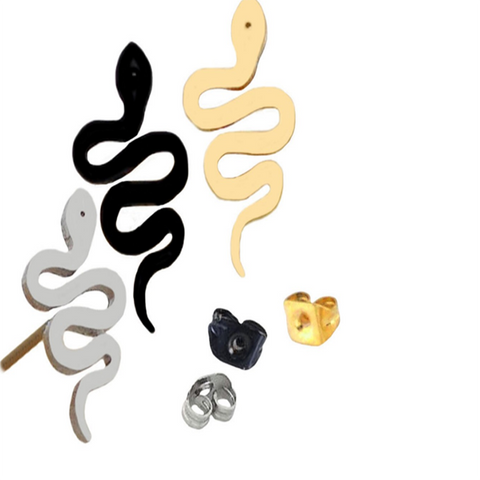 Steel Snake Shaped Earring