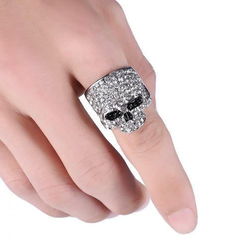 Crystal Stone Plated Skull Ring