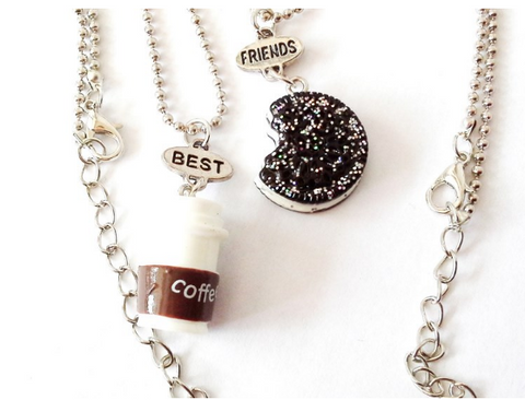 2Pc Coffee Cup Oreo Glitter Biscuit Pendant Necklace