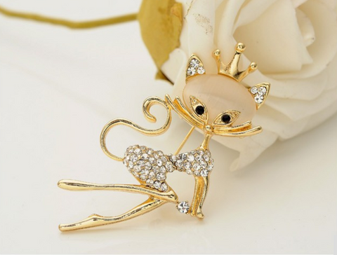 Opal Cat Brooch