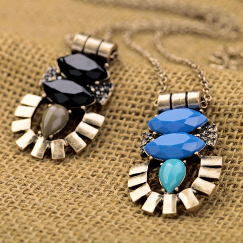 Black Blue Pendant Necklace