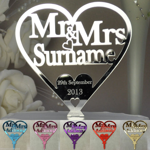 Personalised Mirror Acrylic Heart Wedding Cake Topper