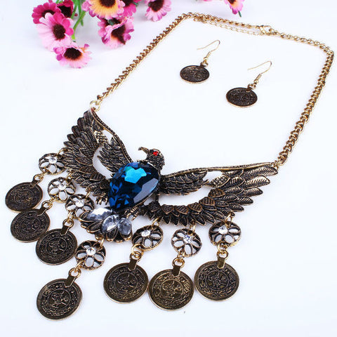 Ancient Eagle Tassel Coin Necklace & Earring Set