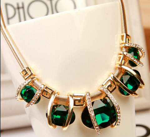 Elegant Oval Blue And Green Crystal Necklace