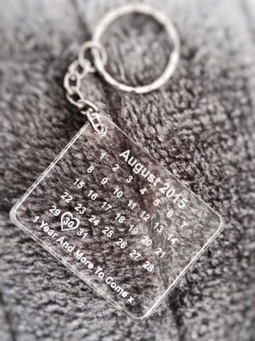 Personalized Date Key Ring, Save The Date Always