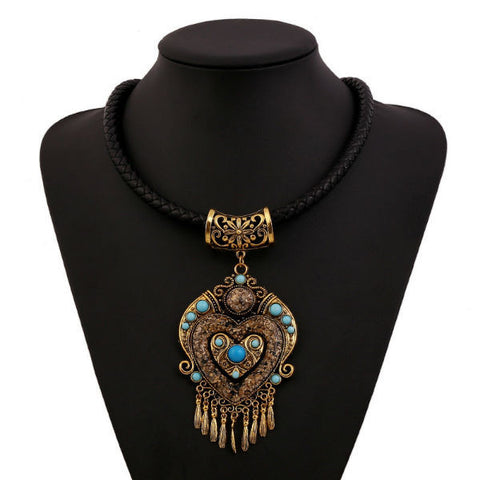 Bohemian Choker Collar Pendant Necklace