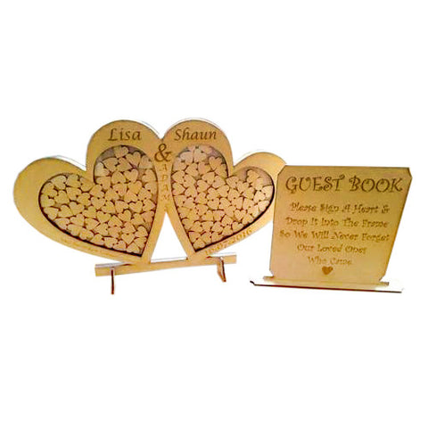 Wedding Drop Box / Guest Book – Double Heart Shape With Guest Sign