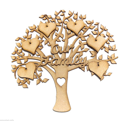 Beautiful MDF Our Family Tree Shape Memory Wall Plaque