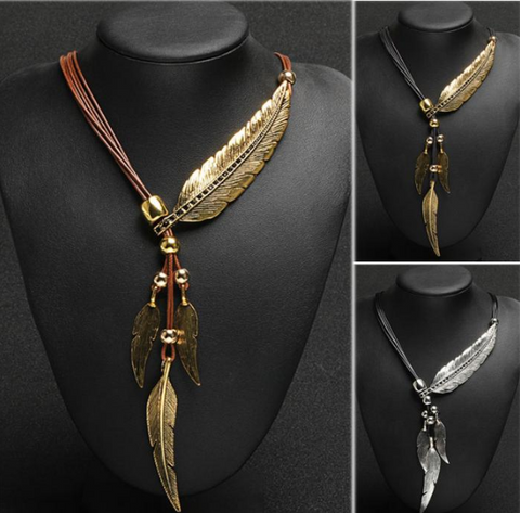 Boho Rope Chain Feather Pattern Necklace
