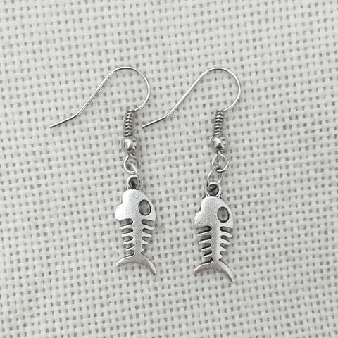 Fish Bone Dangle Earrings