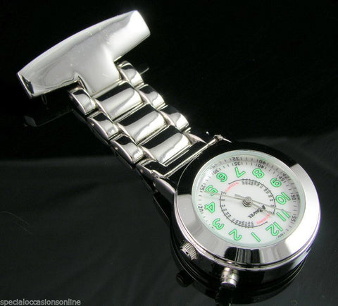Nurse / Carers Fob Chrome Watch - Personalized Name Engraving – With Back Light