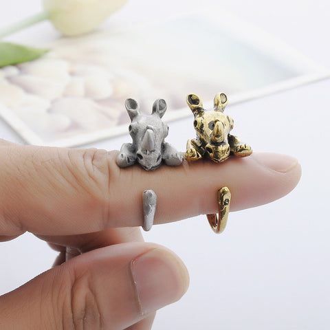 Antique Gold & Silver Rhinoceros Rings