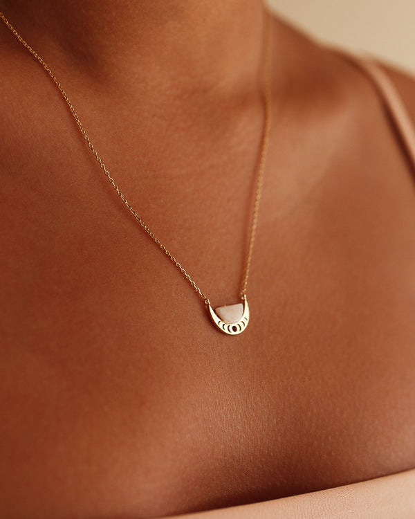 Crescent Moon Necklace - Blush